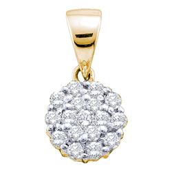 1/4 CTW Round Diamond Flower Cluster Pendant 14kt Yellow Gold - REF-18A3N