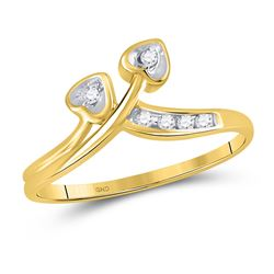 1/20 CTW Round Diamond Double Heart Simple Ring 10kt Yellow Gold - REF-7A8N