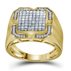 1 CTW Mens Princess Diamond Cluster Ring 10kt Yellow Gold - REF-83H9W