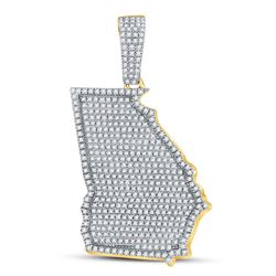 3/4 CTW Mens Round Diamond State of Georgia Charm Pendant 10kt Yellow Gold - REF-51A5N