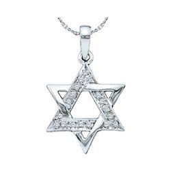 1/10 CTW Round Diamond Star Magen David Jewish Pendant 10kt White Gold - REF-11W9F