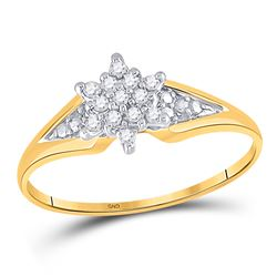 1/10 CTW Round Diamond Star Cluster Ring 10kt Yellow Gold - REF-9M6A
