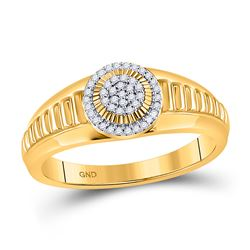 1/8 CTW Round Diamond Circle Cluster Ribbed Ring 10kt Yellow Gold - REF-21F5M