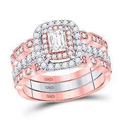 7/8 CTW Emerald Diamond 3-Piece Bridal Wedding Ring 14kt Two-tone Gold - REF-126H3W