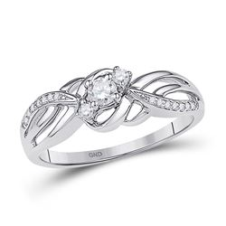 1/4 CTW Round Diamond 3-stone Bridal Wedding Engagement Ring 10kt White Gold - REF-24A3N