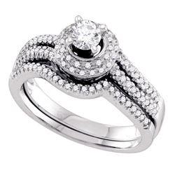 1/2 CTW Round Diamond Bridal Wedding Engagement Ring 14kt White Gold - REF-71M9A