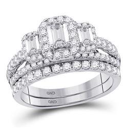 1 & 1/2 CTW Emerald Diamond 3-Stone Bridal Wedding Engagement Ring 14kt White Gold - REF-179X9T