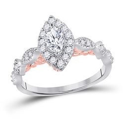 3/4 CTW Marquise Diamond Solitaire Bridal Wedding Engagement Ring 14kt Two-tone Gold - REF-96F3M