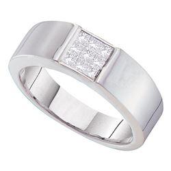 1/2 CTW Mens Princess Diamond Cluster Wedding Anniversary Ring 14kt White Gold - REF-60A3N