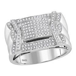 1/2 CTW Mens Round Diamond Indented Square Cluster Ring 10kt White Gold - REF-73N4Y