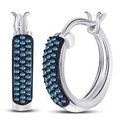 1/10 CTW Round Blue Color Enhanced Diamond Huggie Earrings 10kt White Gold - REF-15N5Y