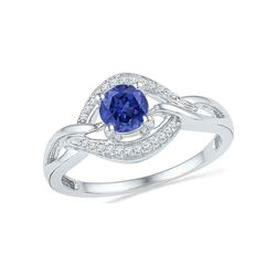 5/8 CTW Round Lab-Created Blue Sapphire Solitaire Woven Ring 10kt White Gold - REF-14K4R