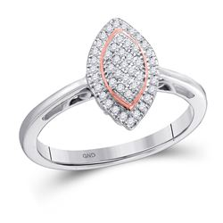 1/6 CTW Round Diamond Rose-tone Frame Oval Cluster Ring 10kt White Gold - REF-13X2T