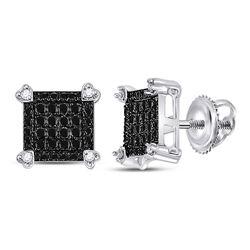 1/4 CTW Round Black Color Enhanced Diamond Square Cluster Earrings 10kt White Gold - REF-14X4T