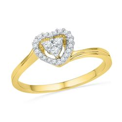 1/6 CTW Round Diamond Simple Heart Cluster Ring 10kt Yellow Gold - REF-14N4Y