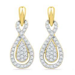 1/3 CTW Diamond Oval-shape Dangle Screwback Earrings 10kt Yellow Gold - REF-22X8T