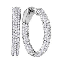 1 CTW Round Diamond Inside Outside Hoop Earrings 14kt White Gold - REF-149H9W