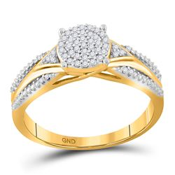 1/6 CTW Round Diamond Cluster Bridal Wedding Engagement Ring 10kt Yellow Gold - REF-18X3T