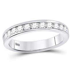 1/2 CTW Machine Set Round Diamond Wedding Channel Ring 14kt White Gold - REF-47R9H