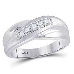 1/4 CTW Mens Round Diamond Diagonal Row Matte Ring 10kt White Gold - REF-27K5R