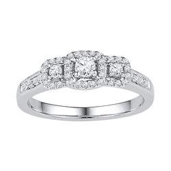 3/8 CTW Round Diamond 3-stone Bridal Wedding Engagement Ring 10kt White Gold - REF-30K3R