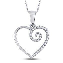 1/10 CTW Round Diamond Clef Heart Pendant 10kt White Gold - REF-8X4T