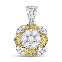 1 CTW Round Yellow Diamond Flower Cluster Pendant 14kt White Gold - REF-77K9R