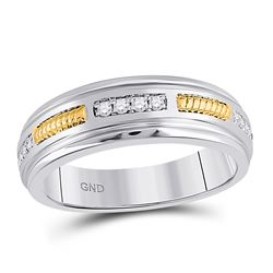 1/5 CTW Mens Round Diamond Wedding Ring 10kt Two-tone Gold - REF-35N9Y