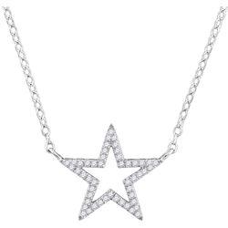 1/8 CTW Round Diamond Star Outline Pendant 10kt White Gold - REF-13T2K