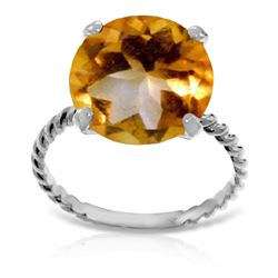 Genuine 5.5 ctw Citrine Ring 14KT White Gold - REF-37R2P