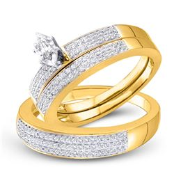 1/2 CTW His & Hers Marquise Diamond Solitaire Matching Bridal Wedding Ring 10kt Yellow Gold - REF-57