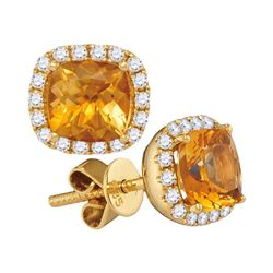 2 CTW Princess Natural Citrine Diamond Stud Earrings 14kt Yellow Gold - REF-54A3N