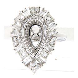 1.36 CTW Princess Diamond Semi Mount Ring 14K White Gold - REF-161F6N