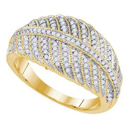 3/8 CTW Round Diamond Milgrain Striped Ring 10kt Yellow Gold - REF-30H3W