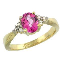 1.06 CTW Pink Topaz & Diamond Ring 10K Yellow Gold - REF-28M4A