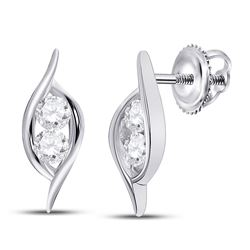 1/4 CTW Round Diamond Bypass 2-stone Earrings 14kt White Gold - REF-20A9N