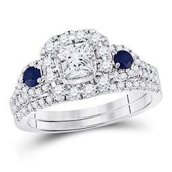 7/8 CTW Princess Diamond Bridal Wedding Engagement Ring 14kt White Gold - REF-101A9N
