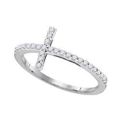 1/5 CTW Round Diamond Cross Religious Ring 10kt White Gold - REF-13R2H