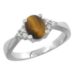 0.81 CTW Tiger Eye & Diamond Ring 14K White Gold - REF-52W5F