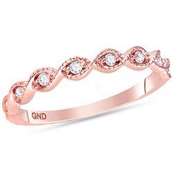 1/10 CTW Round Diamond Twist Stackable Ring 14kt Rose Gold - REF-18W3F