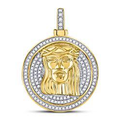 5/8 CTW Mens Round Diamond Jesus Circle Medallion Charm Pendant 10kt Yellow Gold - REF-45R3H