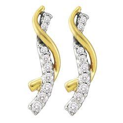 1/2 CTW Round Diamond Journey Earrings 14kt Yellow Gold - REF-45K6R