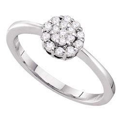 1/4 CTW Round Diamond Circle Frame Flower Cluster Ring 14kt White Gold - REF-24N3Y