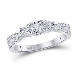 1/3 CTW Round Diamond 3-stone Bridal Wedding Engagement Ring 10kt White Gold - REF-27F5M