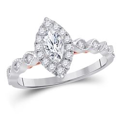 3/4 CTW Marquise Diamond Solitaire Bridal Wedding Engagement Ring 14kt Two-tone Gold - REF-90F3M