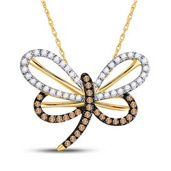 1/4 CTW Round Brown Diamond Butterfly Bug Pendant 10kt Yellow Gold - REF-15T5K