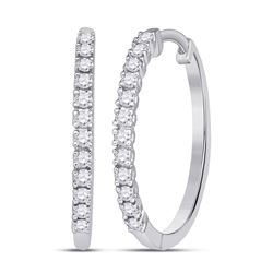 1/4 CTW Round Diamond Slender Single Row Hoop Earrings 10kt White Gold - REF-19N2Y