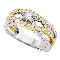 3/4 CTW Round Diamond Solitaire Two-tone Bridal Wedding Engagement Ring 14kt White Gold - REF-60T3K