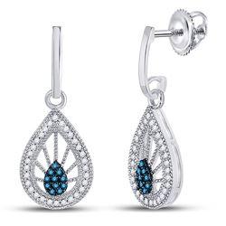 1/4 CTW Round Blue Color Enhanced Diamond Teardrop Screwback Earrings 10kt White Gold - REF-21A5N
