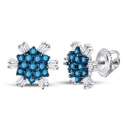 1/2 CTW Round Blue Color Enhanced Diamond Cluster Screwback Earrings 10kt White Gold - REF-19X2T